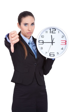 too late: businesswoman holding clock, too late concept Stock Photo