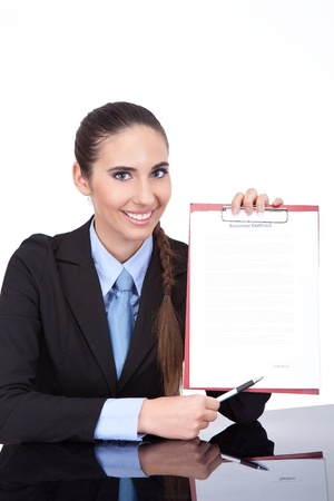 businesswoman holding document  with  empty place for signature, isolated on white background Stock Photo - 11152500