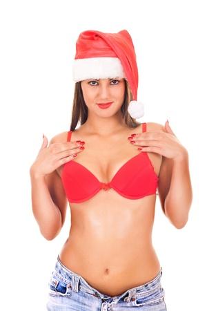 nice breast: sexy santa claus wearing underwear on white background