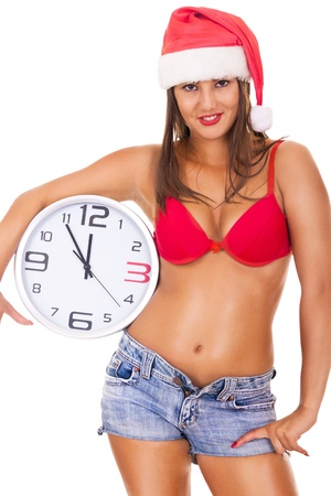 sexy santa  girl in underwear holding clock - isolated on white photo