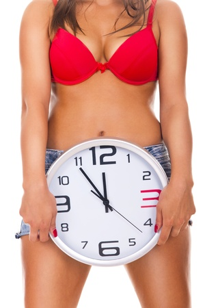 photo of a woman naked woman holding clock in front - isolated on white photo