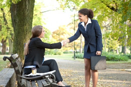 African American businesswoman shaking hands with businesswoman in park Stock Photo - 11270909