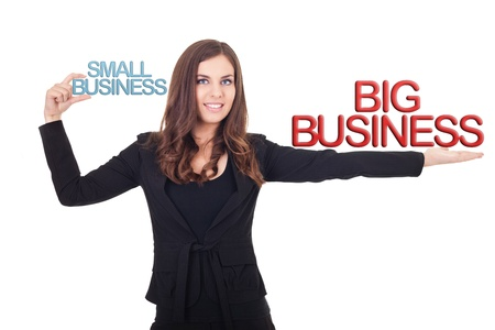 comparisons: businesswoman holding small business and big  business in hands, comparison business different, isolated