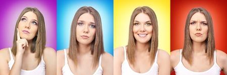 expresiones faciales: collage de colores y emoci�n, ni�a, con expresiones faciales