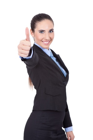 smiling young businesswoman showing thumb up, isolated on white background Stock Photo - 11503791