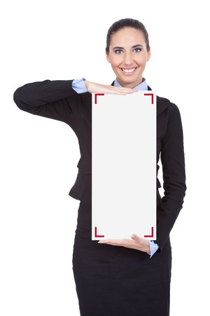 young businesswoman holding blank white sing, isolated on white background photo