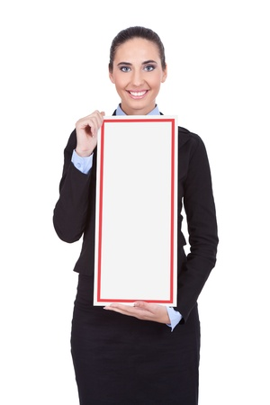 young, smiling businesswoman holding blank banner, isolated on white background photo