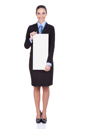 smiling businesswoman with blank banner, isolated on white background photo