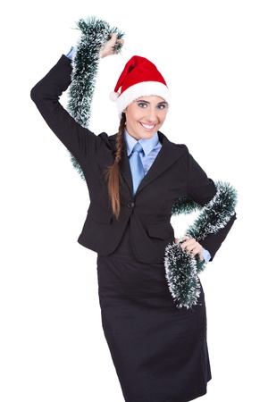 Christmas business woman wearing santa hat dancing happy and excited standing , isolated on white background photo