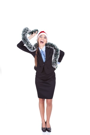 happiness and excited businesswoman celebrating christmas, standing in full body, isolated on white background photo