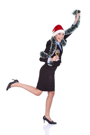funny businesswoman dancing,  celebration new year,  isolated on white background  photo