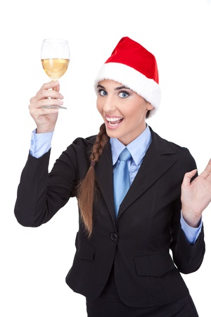 businesswoman with santa hat and glass with  champagnes, isolated on white background photo