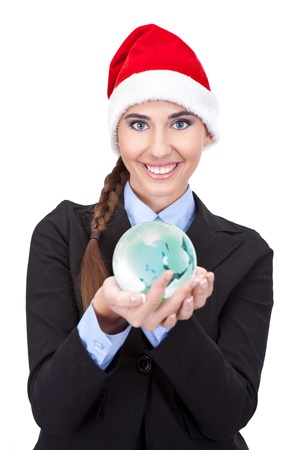 cute businesswoman holding  globe in hands, concept - global business, isolated on white background photo