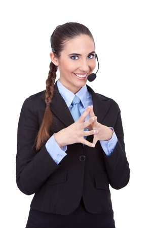 young smiling woman with headset, hello can I help you photo