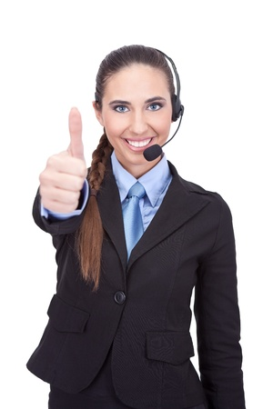 success businesswoman with headset showing thumb up, isolated on white background photo