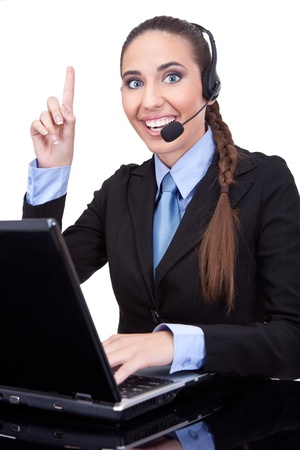 businesswoman working as phone operator, she just remember, isolated on  white background  photo