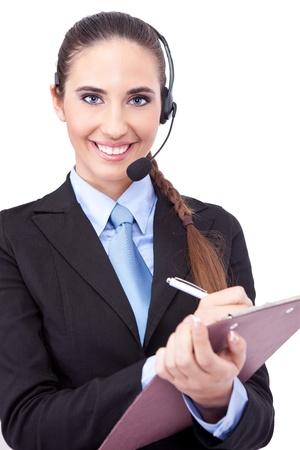 representative phone operator making note, isolated on  white background photo