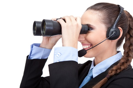 businesswoman with headset and binoculars , searching  information, isolated on white background photo