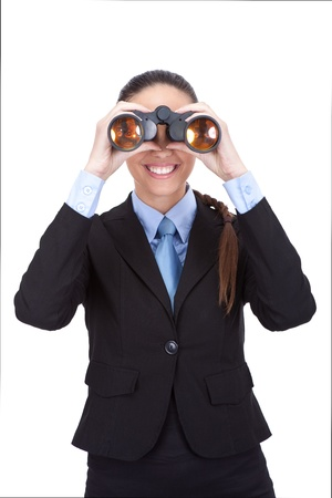 concurrence:  businesswoman looking through binoculars isolated over white background