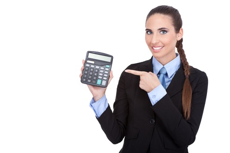 Young Business woman pointing in calculator, isolated on white background  photo