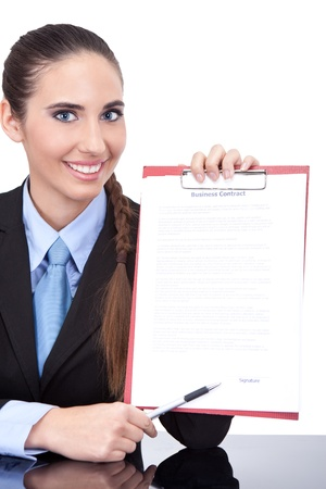 vertica: businesswoman shoving contract ready  for signing,  isolated on white background Stock Photo