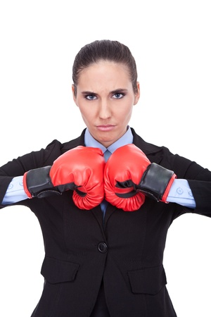 portrait of fighting businesswoman , young woman with boxing gloves Stock Photo - 11504350