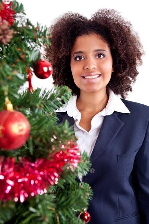 beautiful afro girl, Christmas portrait, isolated on white background photo