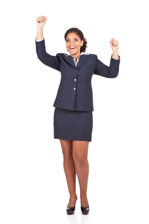successful winner celebrating, happy  afro businesswoman,  isolated on white background