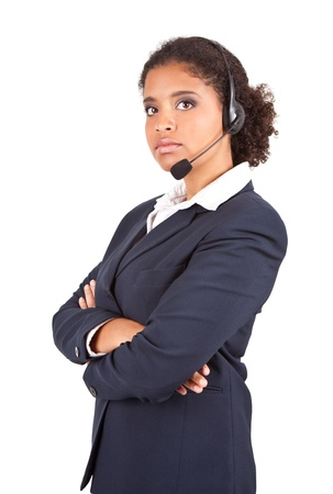 representative businesswoman with headset holding crossed arms on white background photo