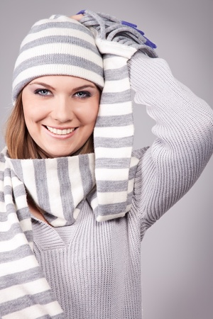 Beautiful young woman in winter outerwear, concept-winter women  photo