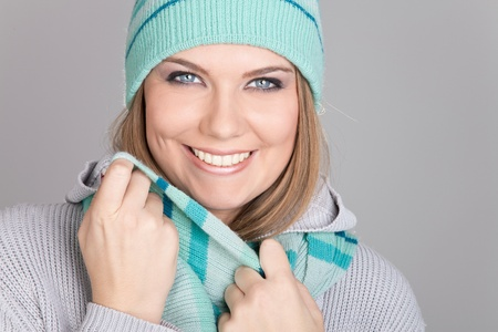 beanie: beautiful smiling winter girl looking in camera Stock Photo