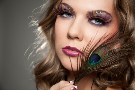 close up of female face with elegance make-up photo