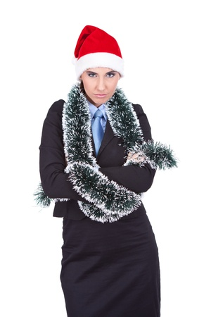 angry businesswoman with  Santa hat, working on Christmas  holidays photo