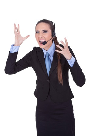 very angry  businesswoman with headset yelling on microphone, isolated a white background photo