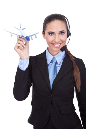 representative phone operator  holding plane, information about flying photo