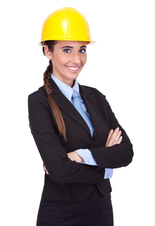 young female architect with yellow hard hat, isolated on white background photo