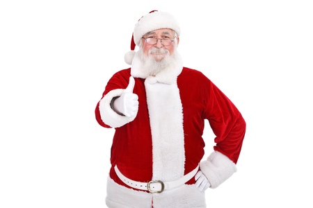 cheerful, Christmas Santa Claus with thumb-up , isolated on white background photo