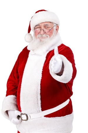 happy Santa Claus with thumb up, isolated on white background photo