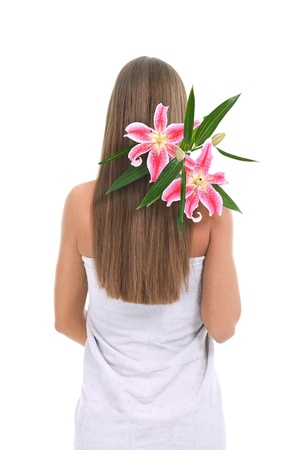beautiful long hair with flowers in it - white background photo