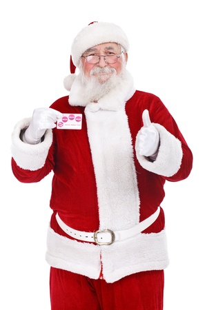 authentic Santa Claus showing credit card, Christmas budget,  isolated on white background photo