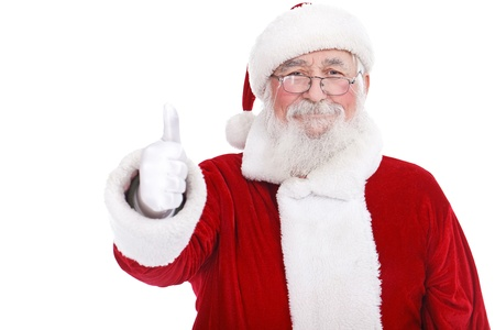 authentic Santa Claus with real beard and great smiling giving thumb up, isolated on white background photo