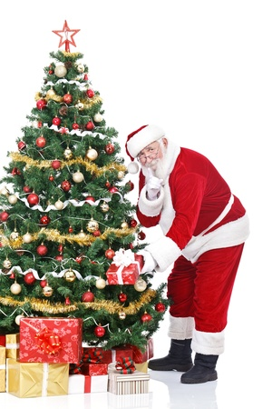 huge christmas tree: Santa Claus bringing gifts and putting under Christmas tree, isolated on white background Stock Photo