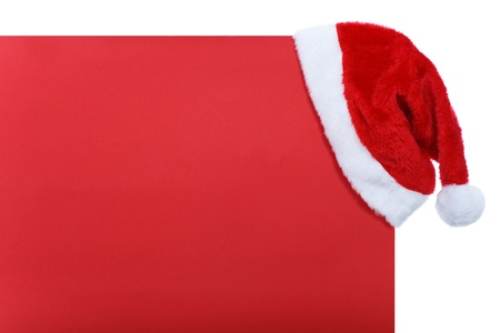 red banner Christmas with Santa hat photo