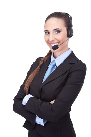 smiling businesswoman with headset, cheerful  customer support photo