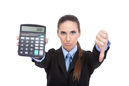 bad economy: debt - Woman accountant showing calculator, concept - debt and finance isolated on white background