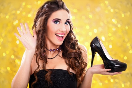 try: exited girl with her new  high heels