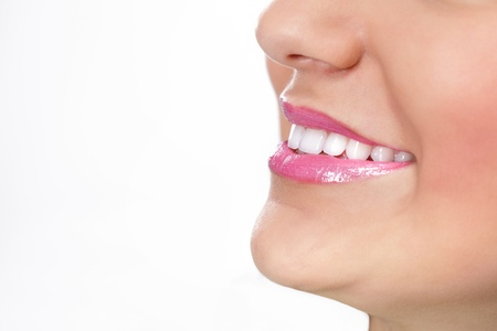 Close up of great smiling with perfect healthy teeth  photo