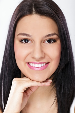 sweet smile:  Smiling girl with healthy, white teeth