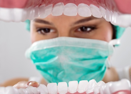 inspected: Patients mouth being inspected by dentist  Stock Photo