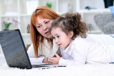 mother and daughter spending time together, domestic life photo